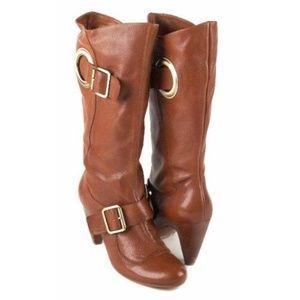 BCBG Cognac Leather 'Maisha' Boots sz 9 Women's